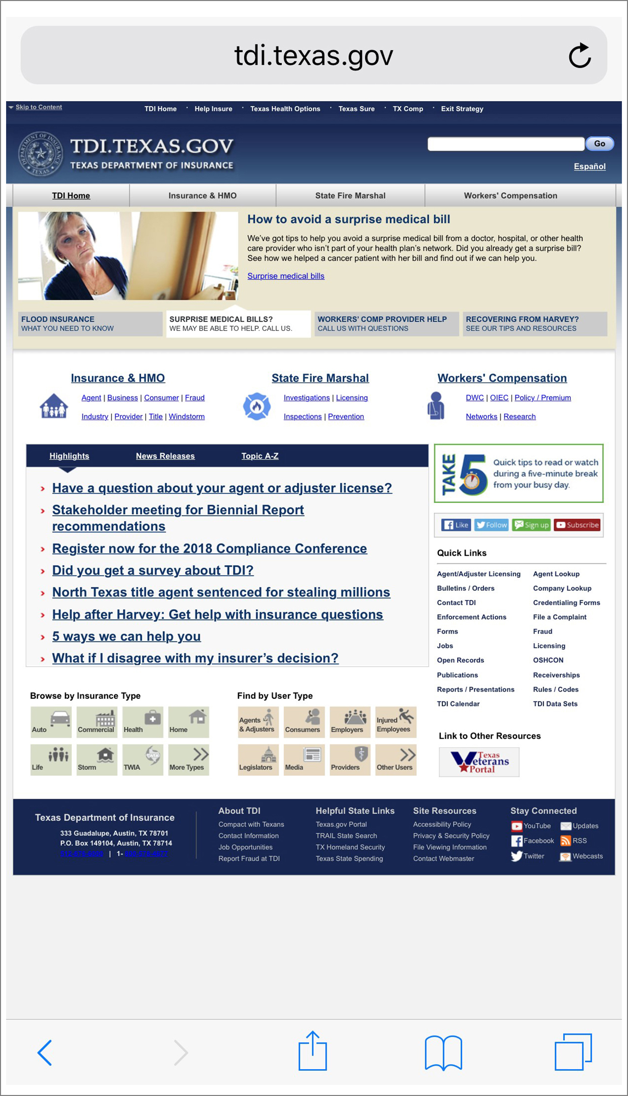 TDI website – before